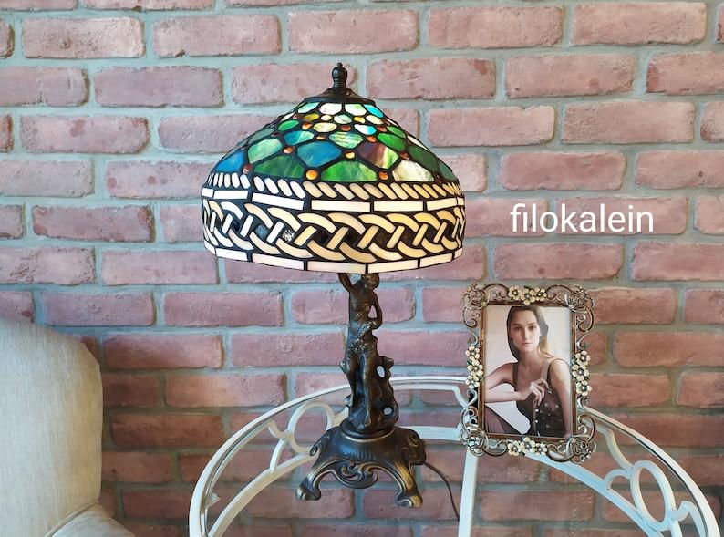 table tiffany brass lamp table gold bronze lamp handmade image 0