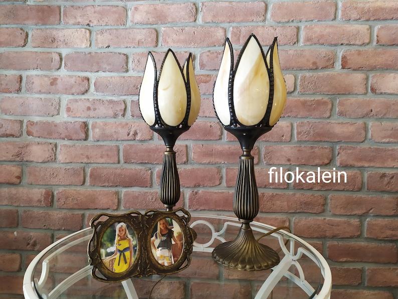 table brass lamp table dark brown lamp handmade vintage image 0