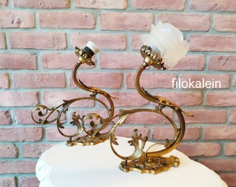 antique sconce pair, wall brass lamp, wall bronze lamp, handmade vintage antique sconce, brass applique light, wedding engagement gift