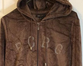 MAX AZRIA BCBG Soft Velour Jewelled Long Sleeve Hoodie Brown
