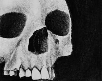 "Into the Darkness 6"" x 8"" Giclee Charcoal Art Print"