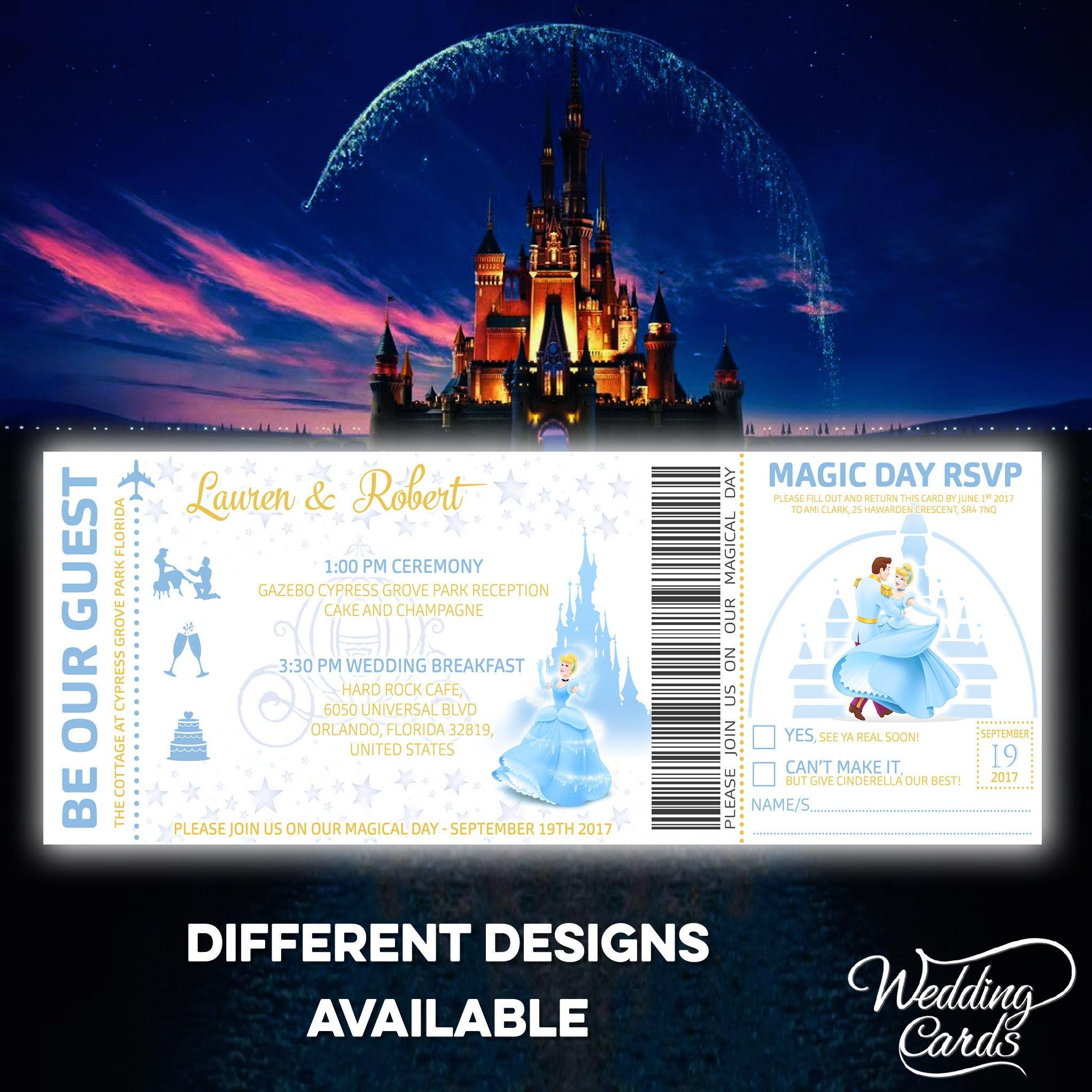 Personalised Disney Ticket Invitation I Cinderella Star Wars