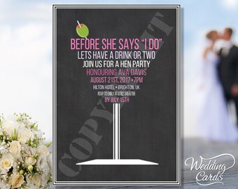 Personalised | Hen Night | Party | Invite | Invitation | Ladies | Night Out | Martini | Wedding | Shout Out | Post Card ANY SIZE A4 A5 A6 A7