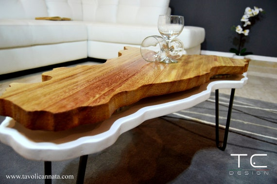 Coffee Table In Wood Modern Design Trinacria Model Etsy