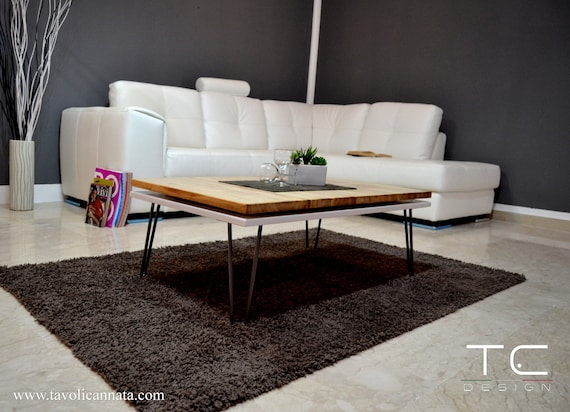 Wooden Coffee Table Modern Unique Design Living Room Etsy