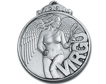 Virgo Zodiac Pewter Pendant is for birthdates of Aug 23 - Sept 22