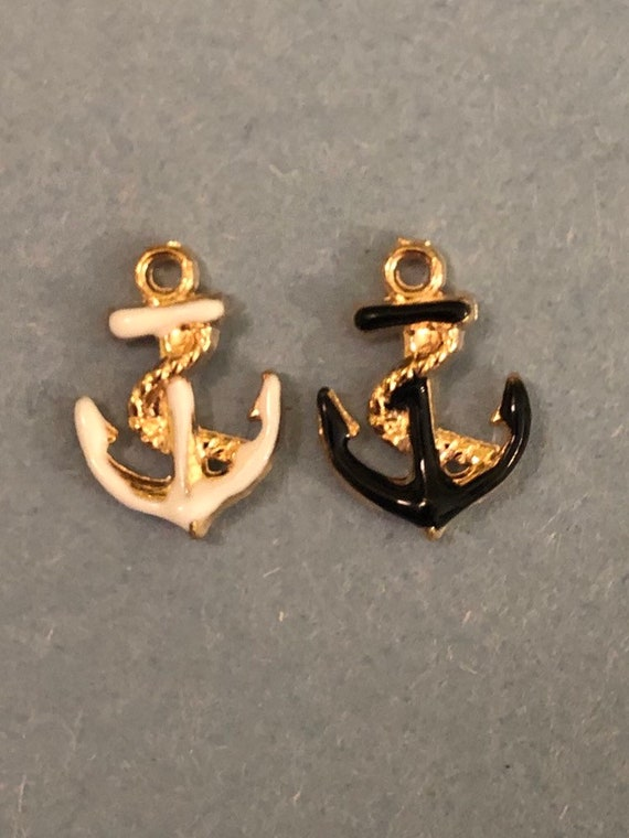 E180 5 Anchor Charms Enamel Silver Tone Assorted Colors