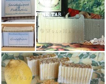 5 Pack of WolfHawk Soap! Lemon Calendula, Grease Release, Guardian, or Sandalwood & Patchouli