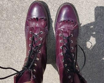 Vintage 1980s Laredo plum/purple roper boots - 6.5B