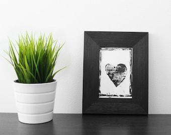 Linoprint heart. Handmade linocut.