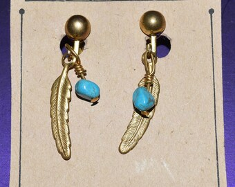 Clip On Gold Feather Earrings with Turquoise Stone Accent