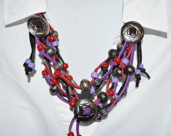 Hand Crafted Black, Purple and Red Leather w/ Silver Conchos Necklace & Earrings