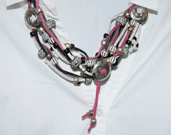 Hand Crafted Pink, White and Black Leather w/ Silver Conchos Necklace & Earrings