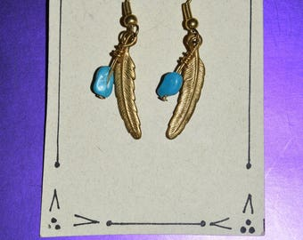 Gold Feather Earrings with Turquoise Stone Accent