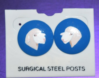 Hand Painted Columbia Sheep Head Blue Post Earrings