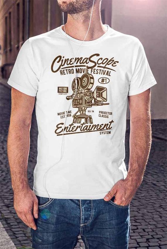Mens Womens Unisex T Shirt RETRO CINEMA SCOPE MOVIE FILMS OLD TIME CLASSIC