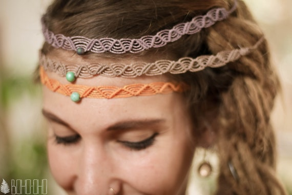 Boho\u2219oho macrame Agate Gemstone Tiara  Makramee Headband  bohemian hippie ethno gypsy style  Gift Idea  Spiritual Gemstone Jewelry