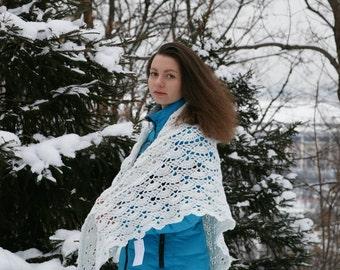 White shawl crocheted
