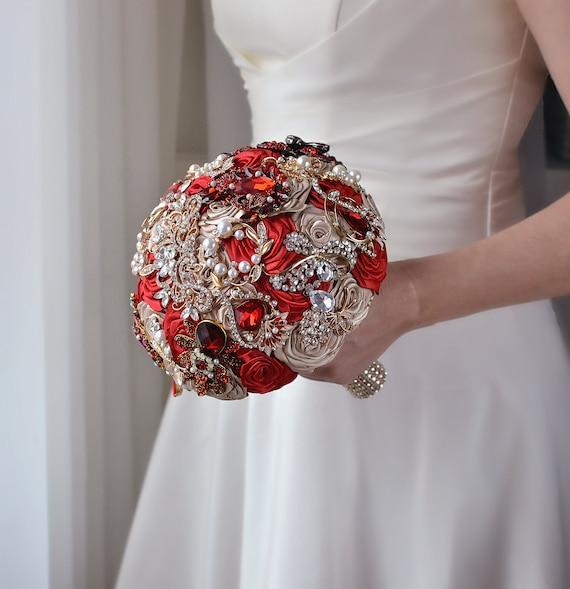 Rose Gold Brooch Bouquet Cascading Bouquet Wedding Jewelry Bridal