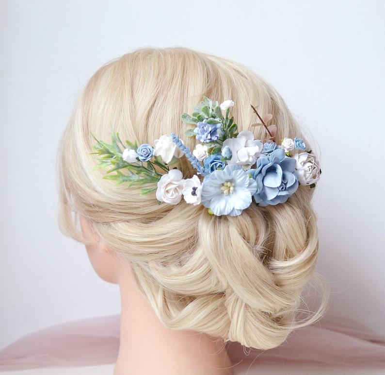 Dusty Blue Hair Pins Wedding Flower Hair Clip Pale Blue Flower Hair Piece Bridal Bridesmaids Bobby Hair Pins Navy Blue Floral Headpiece