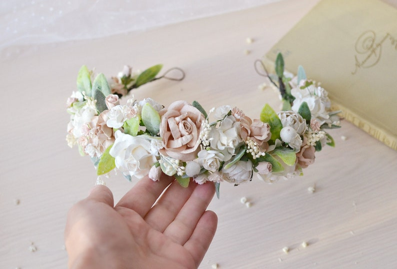 Bridal Flower Crown Blush Pink Wedding Crown Baby Flower Girl Crown Greenery Headpiece Bridesmaids Floral Hair Vine Wedding Accessories