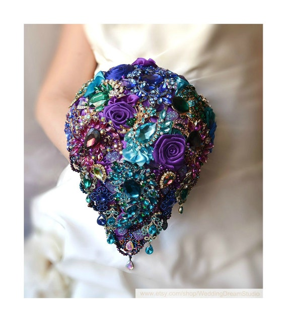 Wedding Bouquet Peacock Brooch Bouquet Wedding Dress Jewelry Etsy