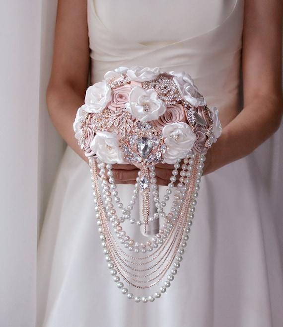 Rose Gold Brooch Bouquet Blush Wedding Bouquet Cascading Etsy
