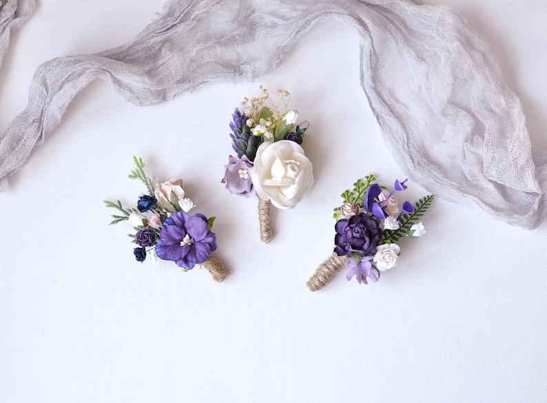 Purple Paper Flowers Wedding Boutonniere Blue Button Hole Hops Boutonniere Wedding Fiance Greenery Brooch Boutonniere Rustic Groomsmen Pin