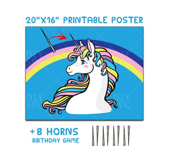 picture regarding Pin the Horn on the Unicorn Printable referred to as Pin the horn upon the unicorn, Unicorn birthday match, Unicorn