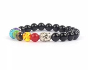 Gemstone chakra Mala stretch bracelet with silver Buddha head