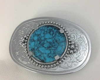 Mens Western Cowboy Bohemian Style Blue Gemstone Buckle Belt Strap Waistband