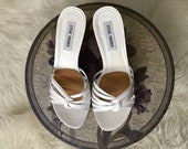 White Strappy Sandals size 9B 90s Vintage Steve Madden Heels