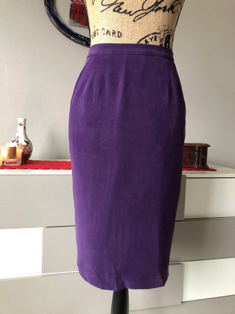 Spring Pencil Skirt Size 2P waist 24 High waisted Silk Purple Skirt