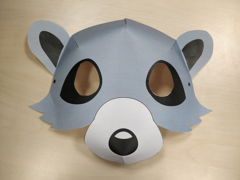 Raccoon Mask Printable waschb\u00e4r maske costume animal grey halloween
