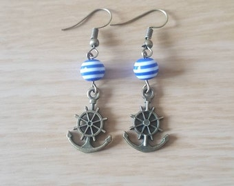 Blue and white striped nautical anchor earrings
