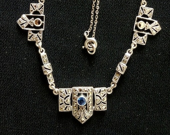 Art Deco silver sapphire paste marcasite necklace, Downton Abbey, silver, wedding, bridal, anniversary, something old, something blue
