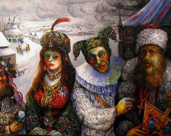 Once Upon a Time In Old Russia Oil On Canvas ORIGINAL Painting Ari Roussimoff Ready To Ship