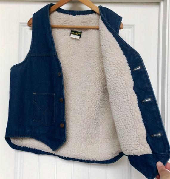 Mens Vintage Sherpa Denim Vest WRANGLER XL Outdoor
