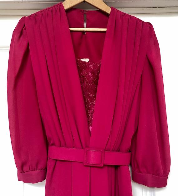 Vintage 1980s Hot Pink Dress Shoulder Pads Belt MI
