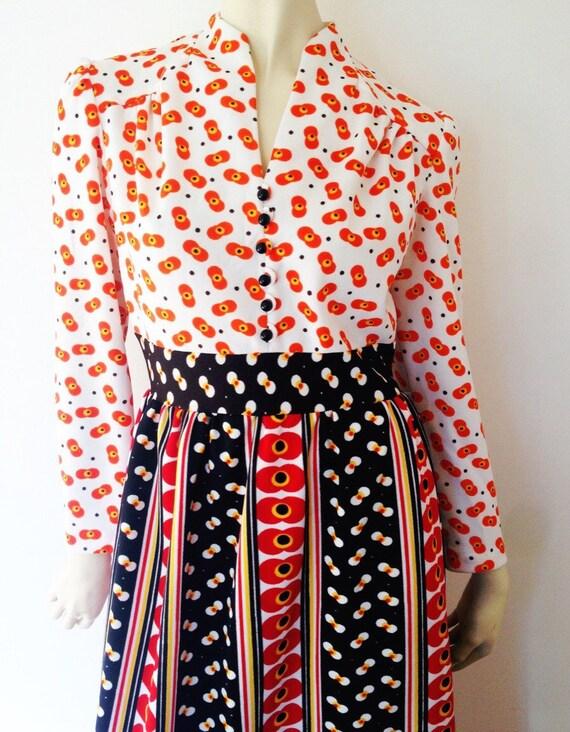 1960s Vintage Western Gunne Sax Style Dress Long S