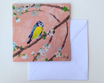 BLUE TIT CARD - Fine Art Greeting Card, Blank Birthday Card, Send Direct, Include a Message, Blank Birthday Card, Cute Bird Card
