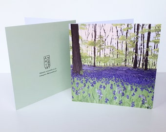 BLUEBELL WOODS CARD - Fine Art Greeting Card, Blank Birthday Card, Send Direct, Include a Message, Blank Birthday Card, Bluebell Painting
