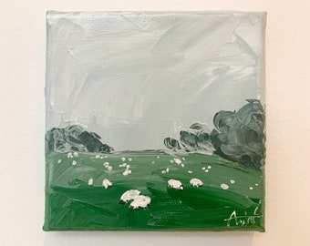 SHEEP FIELD Painting, Original Textured Landscape Painting, Mini Impasto Painting, British Countryside Canvas Art