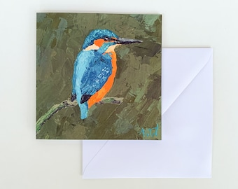 KINGFISHER CARD - Fine Art Greeting Card, Blank Birthday Card, Send Direct, Include a Message, Blank Birthday Card, Art Print, Bird Card