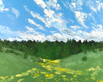 BUTTERCUP LANDSCAPE Painting - Tring Park, Original Summer Acrylic Painting, Abstract Landscape, Impressionistic Wildflower Field Painting