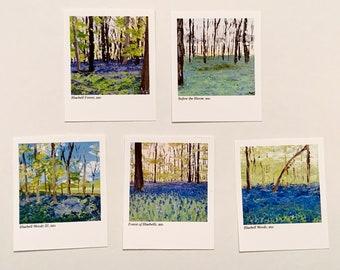 BLUEBELL PAINTING POLAROID Prints Collection, Mini Fine Art Prints, Original Palette Knife Art Prints, Cute Wall Decor