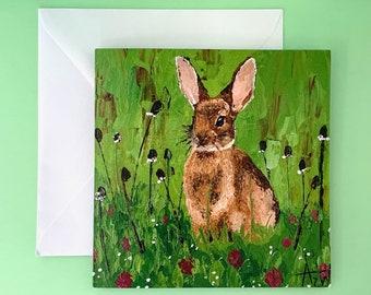 BUNNY CARD - Fine Art Greeting Card, Blank Greeting Card, Send Direct, Rabbit Painting Card