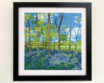 BLUEBELL FOREST Painting - Original Artwork, Impasto Landscape Artwork, Framed Palette Knife Painting, British Forest Art