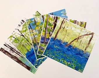 BLUEBELL PAINTING PRINTS Collection, Square Fine Art Prints, A4/A5 Original Palette Knife Art Prints, Bluebell Woods Art