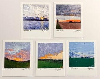 SUNSET PAINTING POLAROID Prints Collection, Mini Fine Art Prints, Original Palette Knife Art Prints, Cute Wall Decor